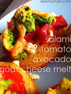 Tomato, Avocado, Salami and Goat Cheese Melt.  Yum!!  Recipe by sketchystyles.com