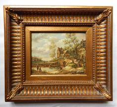 European Style Dutch Village Landscape Oil by Tinkerintheattic