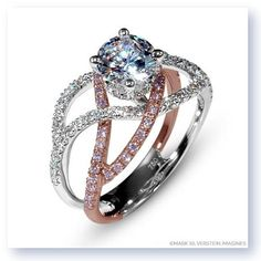 Shop online MARK SILVERSTEIN 2121-18KWR-WPD Split Shank Two Tone Gold Diamond Engagement Ring at Arthur's Jewelers. Free Shipping