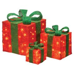 Lighted Sisal Present Set Christmas Decoration 3 Pc Christmas  - Lighted Christmas Boxes