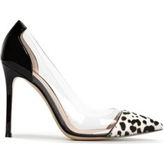 Gianvito Rossi Plexi Pumps ($331) ❤ liked on Polyvore featuring shoes, pumps, heels, black, leopard pumps, leopard print pumps, leopard pointed toe pumps, black heeled shoes and black pointy-toe pumps