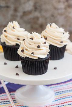 Tracey's Culinary Adventures: Cookie Dough-Stuffed Dark Chocolate Cupcakes