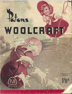 Patons Woolcraft VIntage Cover Australian Edition - Bo Peep and her lambs, yarn balls