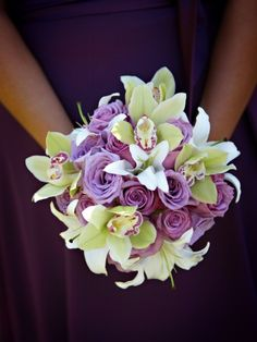 purple green bouquet wedding