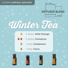 Winter Tea Essential Oil Diffuser Blend 3 drops Wild Orange 2 drops Cinnamon bark 1 drop Cardamom 1 drop Clove How many drops of essential oil to diffuse at a time?  I like to diffuse about 5 drops in my AromaLite diffuser.  You can do a little more according to personal preference,  but the recipes that use large amounts for the number of drops,  I would use as mix ahead blends.  Hope this helps!!!