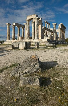 Columns, Temple of Aphaea, Aegina, Greece, first built 500 BC and then again 570 BC.