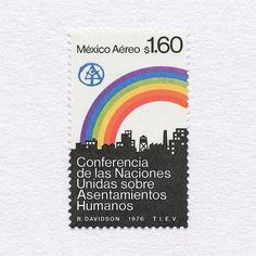 United Nations Conference on Human Settlements Mexico, 1976. Design: Rafael Davidson. #mnh #graphilately