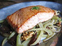 Seared Salmon with Fennel, Walnuts, & Dates