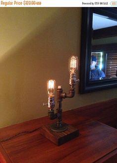 Steampunk - SALE 15% OFF Industrial Lighting  Steampunk Lamp  Table Lamp  Edison Light  Vintage Light  Pipe Lamp  Bedside Lamp  Rustic Lighting  by UrbanIndustrialCraft