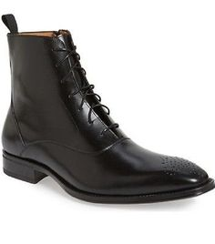 Handmade Mens leather boot, Men brogue black leather boot, Men formal boot - Boots