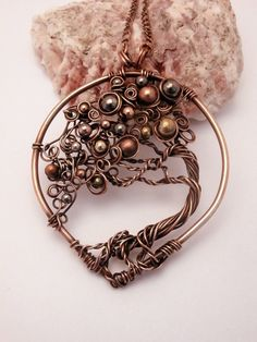 Wire Wrapped Bonsai Tree of Life Pendant Necklace, Mix Metal Beads, Handmade…