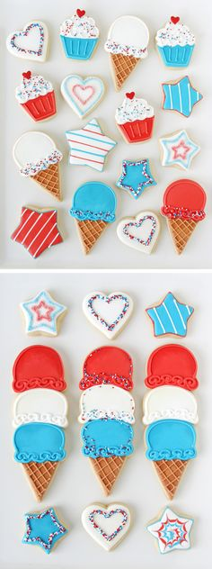 4th of July Ice Cream Cone Cookies!  - GloriousTreats.com