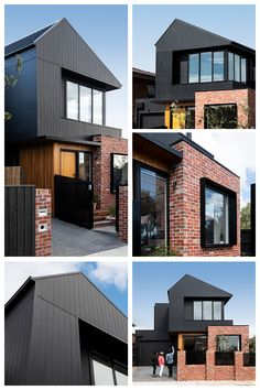 Modern mixed material makeover - Axon Cladding, brick and timber are incorporated together to create a one-of-a-kind facade - Townhouse Exterior, Modern Townhouse, Townhouse Designs, Brick Cladding, House Cladding, Facade House, Exterior Cladding, Modern Brick House, Modern House Facades