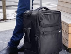 The bag actually compresses your clothing with a built-in air valve so you can pack more without the baggage fees.