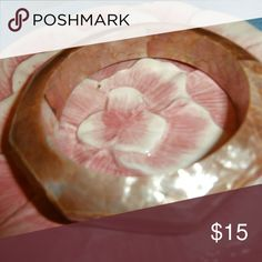 Mother of pearl inlay bangle bracelet Small bangle =small hands are a must. NWOT  Photos cannot do this bracelet justice! Jewelry Bracelets