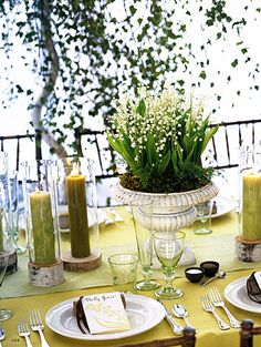 lovely spring or summer party - would be perfect in an outdoor setting! love the birch tree candleholders and the rustic urn...
