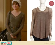 Rachel's brown sweater and white beanie on Glee. Outfit Details: http://wornontv.net/22651 #Glee