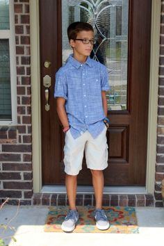 Back to school fashion for middle school boys - pair a button up shirt with khaki shorts and Nikes.