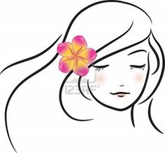 Free Japanese Stencils | Girl With Pink Frangipani Flower Sketch Vector Illustration Image