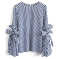 Chicwish Stripes Charisma Top with Bell Sleeves (130 BRL) ❤ liked on Polyvore featuring tops, blue, blue blouse, bell sleeve tops, blue striped top, striped top and flounce tops