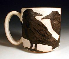 Beautiful and unique hand painted pottery by Nan Hamilton, featuring dog art and animal subjects Boston, MA. Hand Painted Pottery, Pottery Painting, Ceramic Pottery, Pottery Art, Ceramic Art, Crow Art, Raven Art, Bird Art, Jackdaw