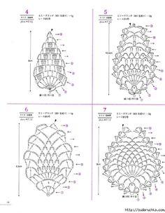 from Asahi original lacework pineapple pattern Crochet Cozy, Irish Crochet, Crochet Yarn, Crochet Flowers, Crochet Stitches, Crochet Doilies, Crochet Jewelry Patterns, Crochet Motif Patterns, Crochet Diagram