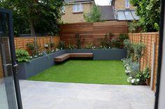 small-garden-design-fake-grass-low-mainteance-contempoary-design-sleek-fun-londo… - All About Balcony Small Garden, London Design, London Garden, Garden Decor, Small Garden Design, Back Gardens, House, Fake Grass, Modern