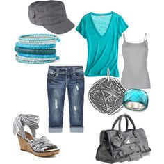 Teal & Gray, created by amyjoyful1.polyvore.com