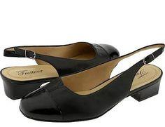 sling back low heel pumps in black patent - Google Search