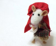 Little Red Riding Hood is A Needle Felted Mouse  by WildWoodHollow