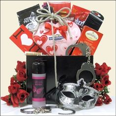 This Fifty Shades of Gray themed gift basket is one of our more tame romantic gifts. Have some fun at $86.99.
