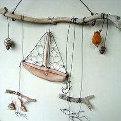 Vzpomínky na léto dřevo voda dekorace moře drát ryba rybka letní loďka mušle závěs mořský léto slunce větvička loď ryby girlanda drátovaná větev