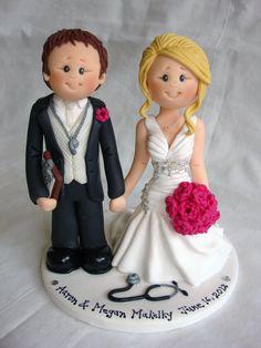 Soccer Football Coach & Nurse wedding cake topper by ALittleRelic