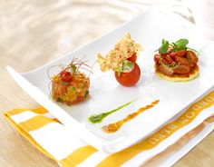 This tomato trio recipe includes six different varieties with varied shapes and colors.