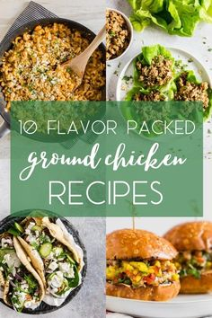 These 10 Flavor Packed Ground Chicken Recipes will give you everything from meatballs, burgers, gyros, and one-pot pasta dishes. You'll love how easy it is to make all of these delicious recipes! Ground Chicken Recipes, Best Chicken Recipes, Veggie Recipes, Fancy Dinner Recipes, Delicious Dinner Recipes, Dinner Ideas, Baked Chicken Meatballs, Chicken Souvlaki, Pressure Cooker Chicken