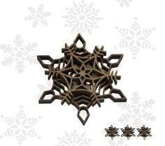 Set of 4 wooden engraved snowflake ornaments. $14