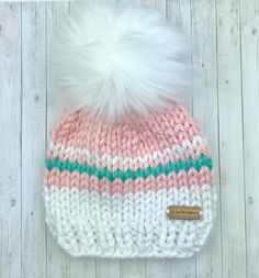 Excited to share this item from my shop: Baby girl Knit Beanie With Faux Fur Pom Pom - Baby Shower gift Baby Hats Knitting, Crochet Baby Hats, Loom Knitting, Baby Knitting Patterns, Knitted Hats, Pom Pom Baby, Kids Winter Hats, Faux Fur Pom Pom, How To Purl Knit