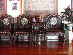 Chinese furniture with inlaid Mother of Pearl- Pinang Peranakan Mansion