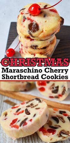 Christmas Maraschino Cherry Shortbread Cookies Cherry Cookies, Yummy Cookies, Holiday Cookies, Easy Shortbread Cookies, Holiday Treats, Best Christmas Desserts, Christmas Cooking, Holiday Recipes, Christmas Goodies