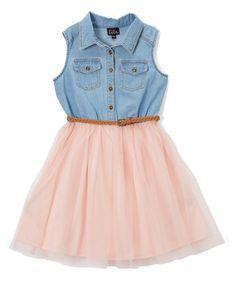 Look what I found on #zulily! Denim & Blush Sleeveless Dress - Girls #zulilyfinds