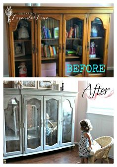 Before and After Armoire from the top half of a dining room hutch