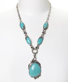 Look what I found on #zulily! Evening Crystals Silver & Turquoise Antiqued Tibetan Pendant Necklace by Evening Crystals #zulilyfinds
