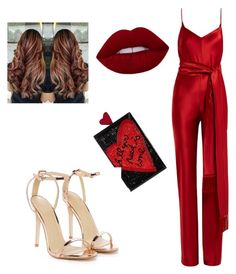 """""""Hot red"""" by ankitachhetri on Polyvore featuring Galvan, Alice + Olivia, Nasty Gal and jumpsuits"""