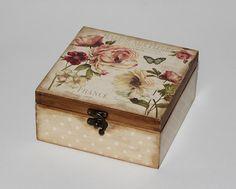 Caja de té madera. Caja de almacenamiento del por DecoupageMargaret