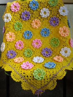 Crochet Afghan Squares   Granny Square Crochet Blanket...Baby Crochet Blanket...Yellow Knitting ...