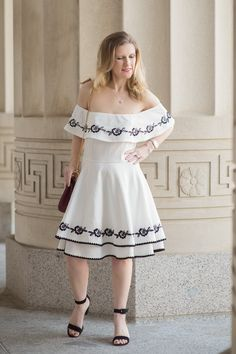 Petite Fashion and Style Blog | Francescas Leda Embroidered Off Shoulder Dress | Ann Taylor Suede Block Heel Sandals | Click to Read More...-