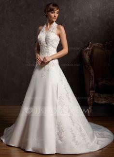 Wedding Dresses - $192.99 - A-Line/Princess Halter Chapel Train Satin Wedding Dress With Lace Beadwork Sequins (002015162) http://jjshouse.com/A-Line-Princess-Halter-Chapel-Train-Satin-Wedding-Dress-With-Lace-Beadwork-Sequins-002015162-g15162