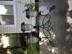Solar Lights for your Garden Solar light table sconce, bright lights for a patio table, made with a sconce bought at a home decor store & three solar lights. Bright & a great lighting feature, best thing I have made, I love it! Outdoor Light Fixtures, Outdoor Lighting, Outdoor Decor, Lighting Ideas, Gazebo Lighting, Outdoor Ideas, Chandelier Lighting, Solar Lamp, Solar Lights