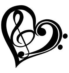 Music Tattoo Designs, Music Tattoos, Music Heart Tattoo, Trendy Tattoos, Cool Tattoos, Treble Clef Heart, Music Note Heart, Symbol Drawing, Note Tattoo