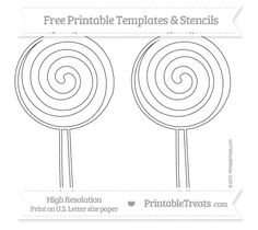 Free Printable Large Swirly Lollipop Stencil